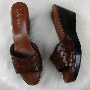 Cole Haan Nike Air Woven Leather Slide Wedges